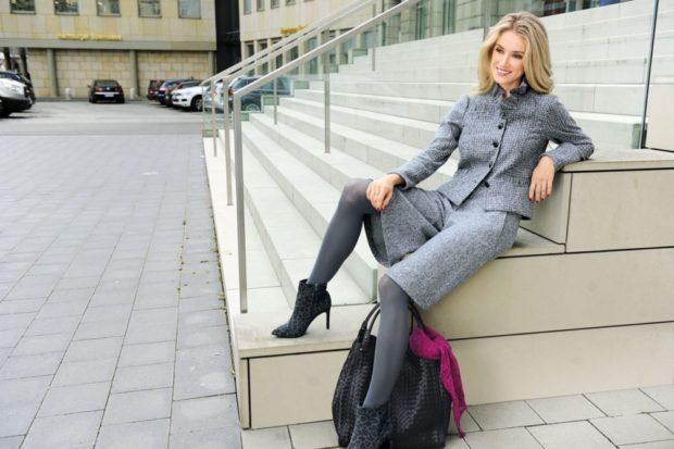 модные брюки 2018-2019 кюлоты серые с пиджаком