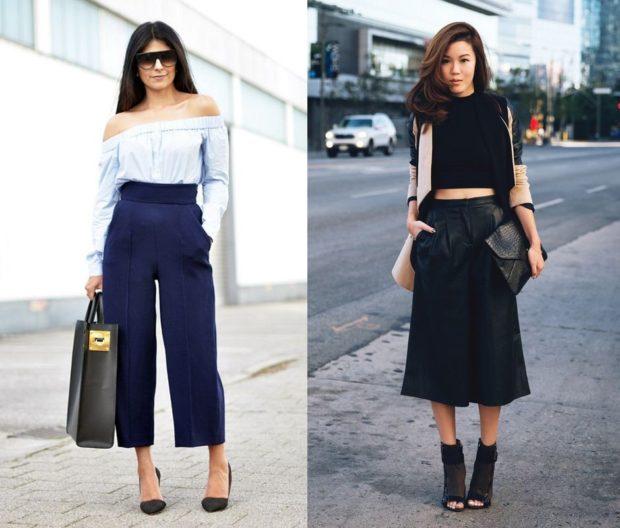 модные брюки 2018-2019 кюлоты синие черные под каблук
