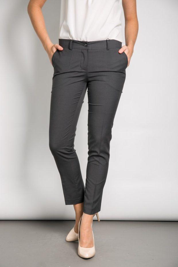 модные брюки 2018-2019 7/8 черные для офиса