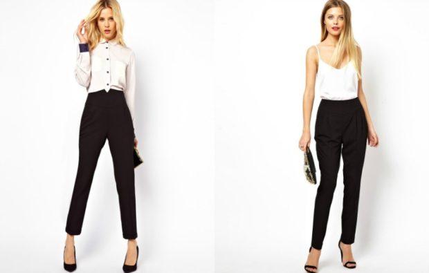 модные брюки 2018-2019 черные с высоким поясом классика