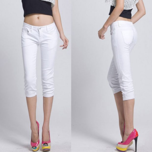 модные брюки 2018-2019 белые капри под каблук