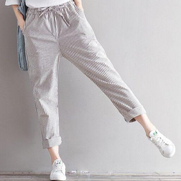 модные брюки 2018 капри в полоску спортивные