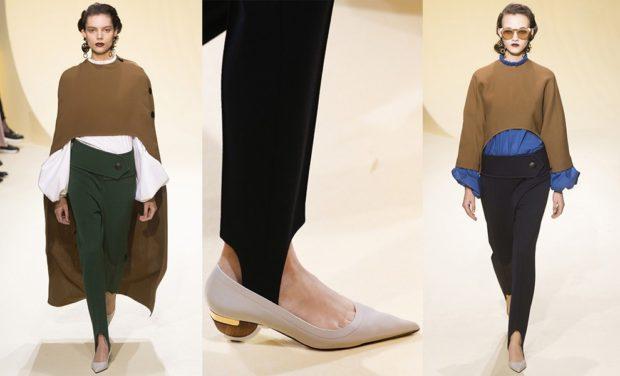 модные брюки 2018-2019 штрипки во внутрь обуви