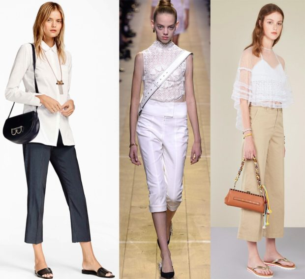 модные брюки 2018-2019 короткие серые белые бежевые