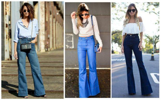 модные брюки 2018-2019 клеша джинсовые