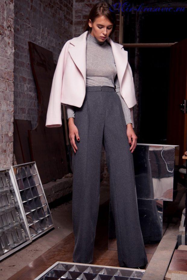 модные брюки 2018-2019 клеша серые от бедра