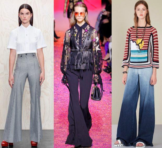 модные брюки 2018-2019 клеша серые черные синие