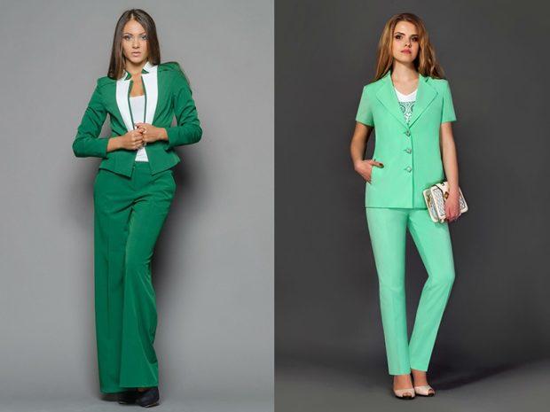 мода цвета осень зима 2018 2019 зеленые костюмы темный светлый