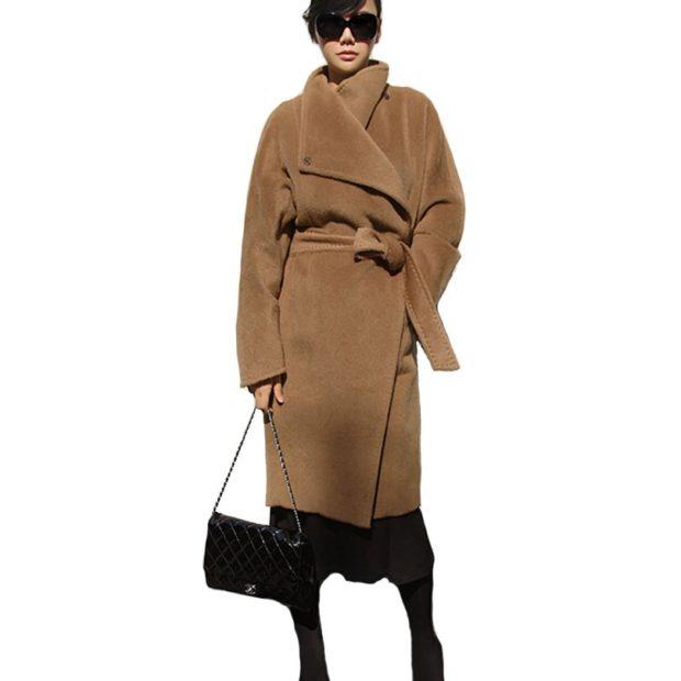 стильные цвета осень зима коричневое пальто с поясом 2018 2019