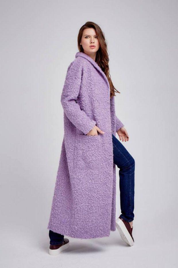 пальто длинное сиреневое