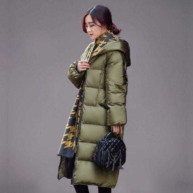 куртка длинная оливковая