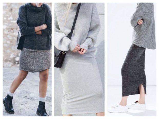 серый светлый платья юбки модные