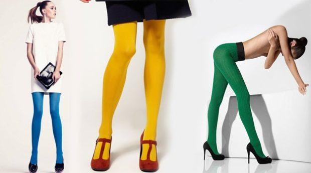 модные колготки 2018 2019 синие желтые зеленые