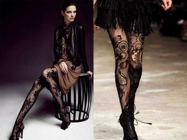 модные колготки 2018 2019 черные ажурные под платье
