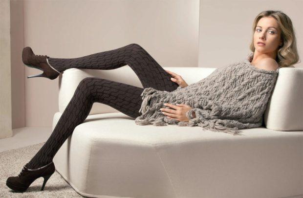 модные колготки 2019-2020 черные плотные с узором