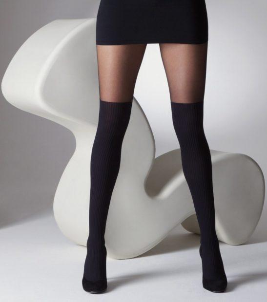 модные колготки 2018 2019 черные с чулками