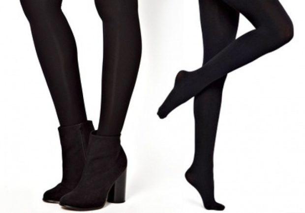 модные колготки 2019-2020 плотные черные ботинки на каблуке