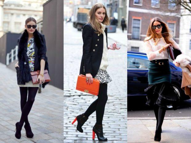 модные колготки 2019-2020 черные плотные под юбку