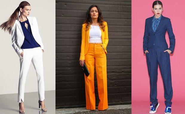модные костюмы 2018 белый оранжевый синий