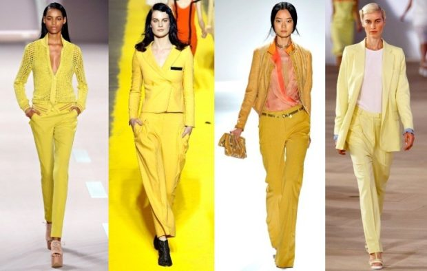 модные костюмы 2018 ярко желтые брючные