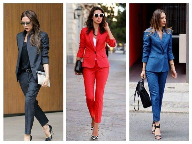 модные костюмы 2018 брючные красный синий черный