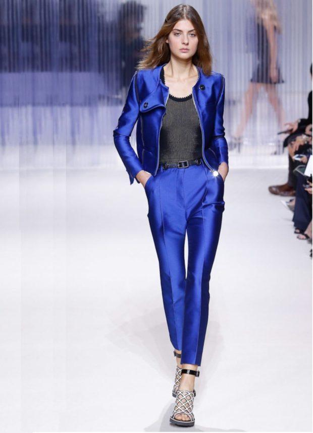 модные костюмы 2019-2020 синий пиджак брюки