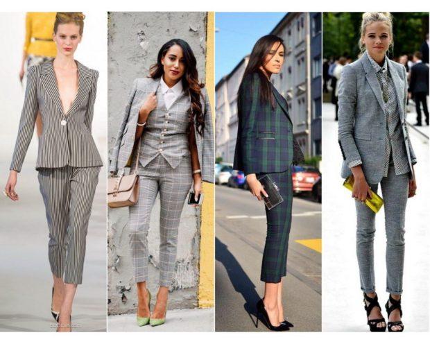 модные костюмы 2018 серые с короткими брюками