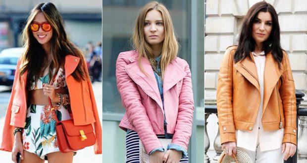 модные косухи 2019 2020: оранжевая розовая коричневая