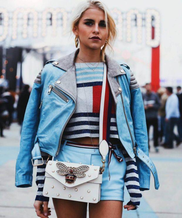 модные косухи 2019 2020: голубая косуха