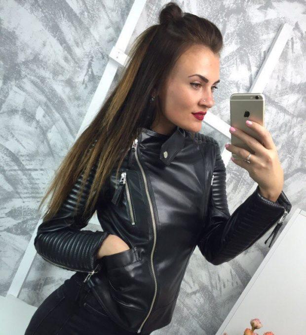 модная косуха 2020 черная