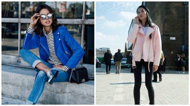модные косухи 2018 голубая розовая