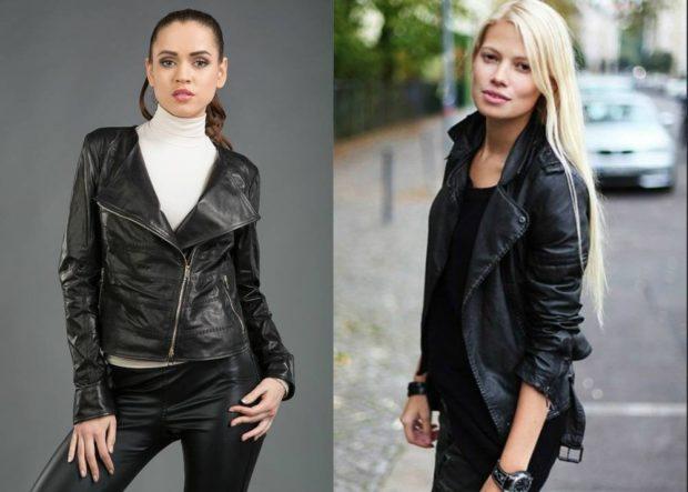 женские косухи 2018  черные кожа