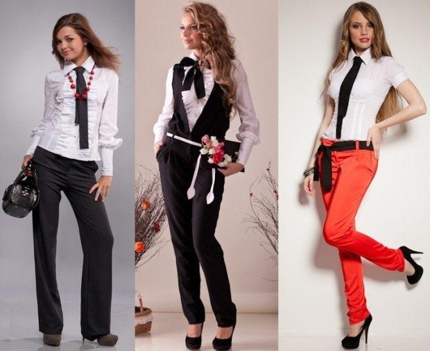 модные образы на 1 сентября 2018 брюки галстук блузка