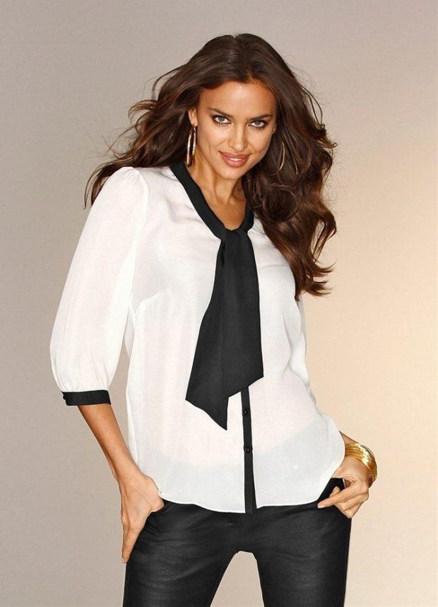 модные образы на 1 сентября 2019 белая блузка с бантом