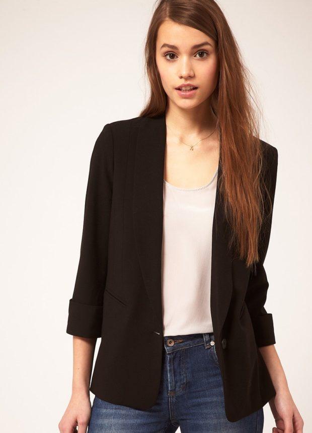 модные образы на 1 сентября 2019 пиджак черный