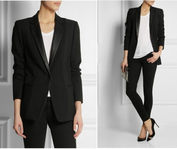 модные образы на 1 сентября 2018 пиджак черные классика