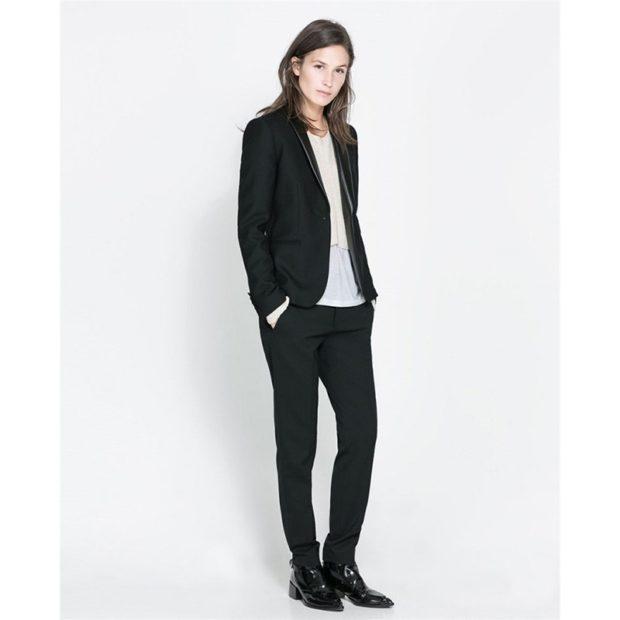 модные образы на 1 сентября 2019 брючный костюм черный под рубашку