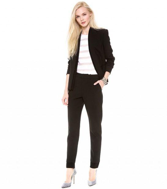 модные образы на 1 сентября 2018 брючный костюм черный под каблук