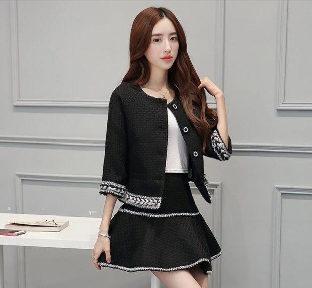 модный образ 1 сентября 2018 костюм с пышной юбкой черный