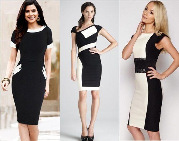 модные образы 1 сентября 2019 черное с белым платье по фигуре