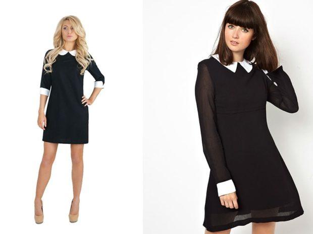 модные образы 1 сентября 2018 черное платье свободное