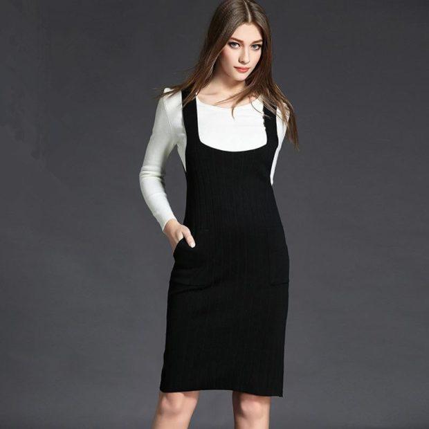 модные образы 1 сентября 2018 черный сарафан под блузку до колена
