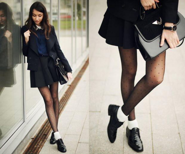 модные образы 1 сентября 2018 юбка пиджак черные