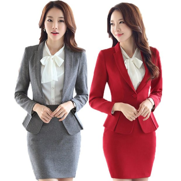 модные образы на 1 сентября 2019 костюм серый красный с юбкой