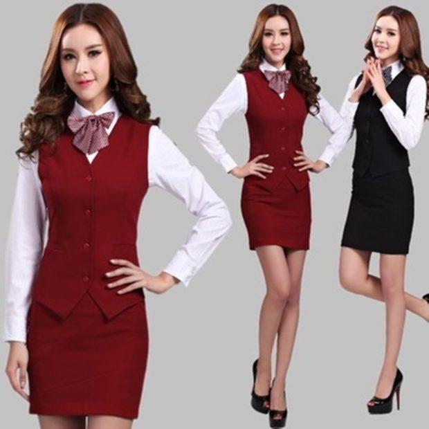 модные образы на 1 сентября 2019 костюм жилетка юбка красная черная