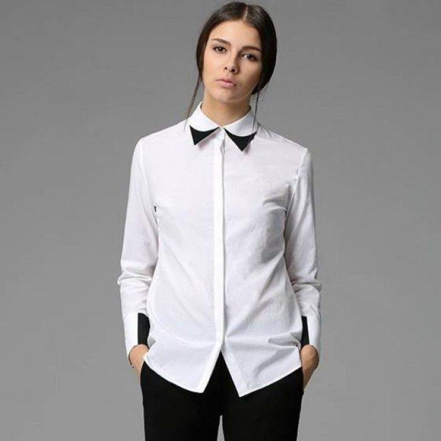 модные образы на 1 сентября 2018 блузка белая с воротником черным