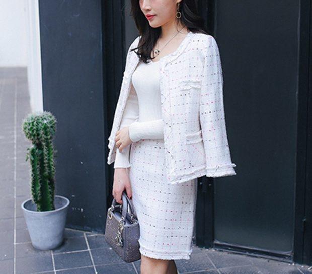 модные образы на 1 сентября 2019 жакет и юбка белые