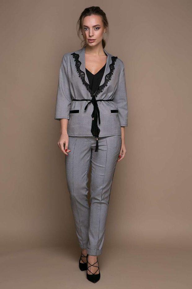 модные образы на 1 сентября 2019 брючный костюм серый пиджак под пояс