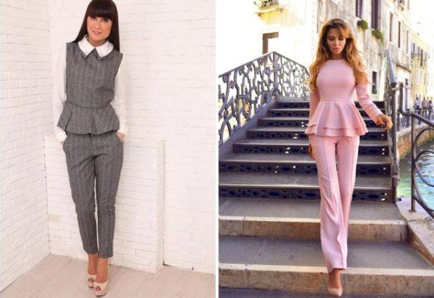 модные образы на 1 сентября 2019 брючный костюм серый розовый с оборкой