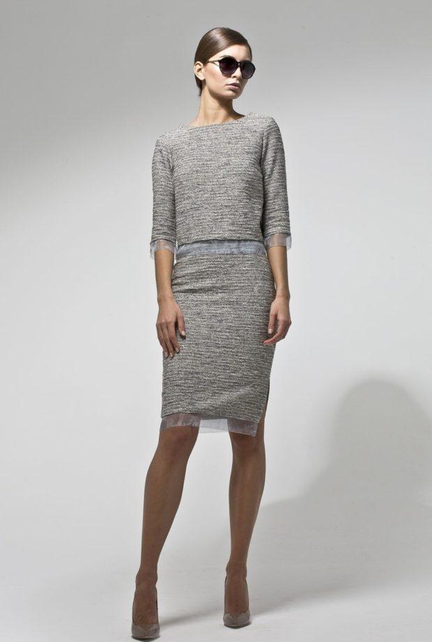 модные образы на 1 сентября 2019 серая юбка и кофта